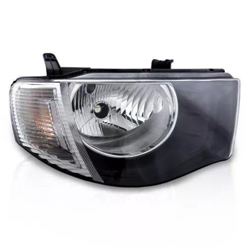 Farol Mitsubishi L200 Triton 2007 2008 2009 2010 2011 2012 213 2014 2015 2016 Mascara Negra Pisca Cristal