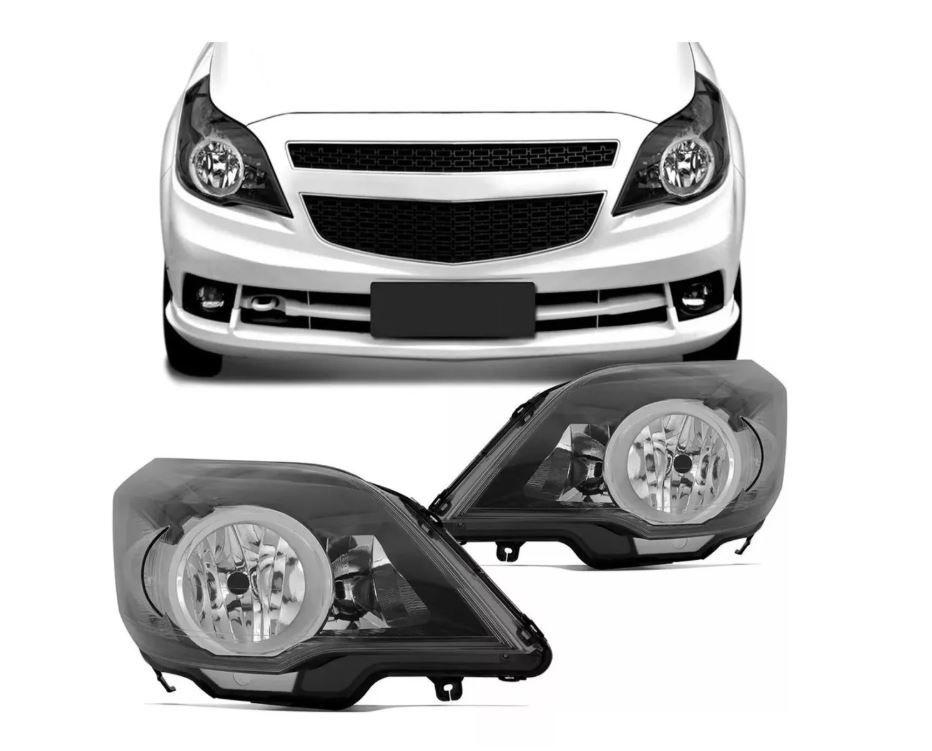 Farol Chevrolet Agile e Montana 2010 2011 2012 2013 2014 Mascara Negra