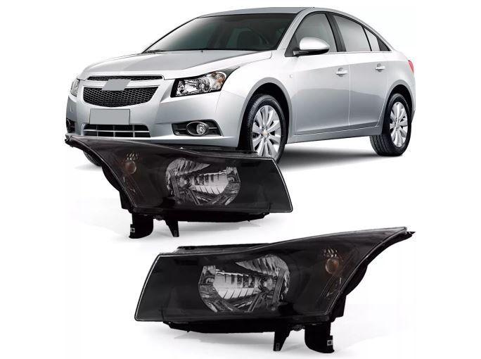 Farol Chevrolet Cruze Sedan Hatch 2011 2012 2013 2014 2015 Mascara Negra