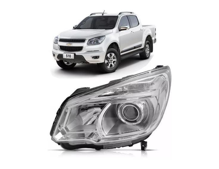 Farol Chevrolet S10 Ltz 2012 2013 2014 2015 2016 Mascara Cromada Com Projetor