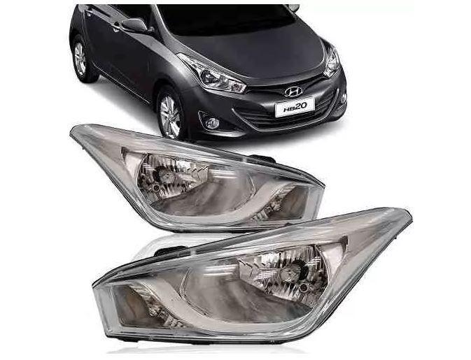 Farol Hyundai Hb20 2012 2013 2014 2015 2016 2017 Mascara Cromada