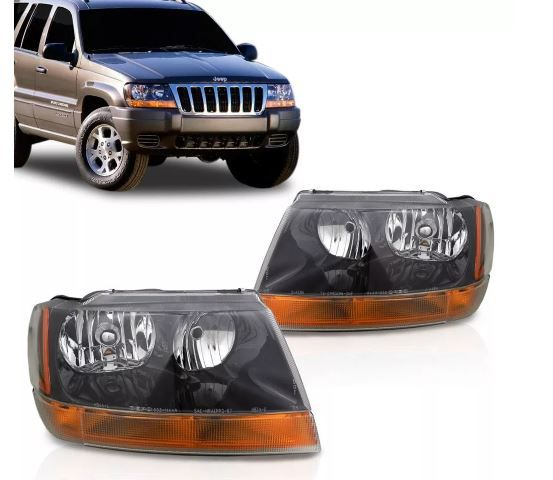 Farol Jeep Grand Cherokee Laredo 1999 2000 2001 2002 2003 2004 Macara Negra Tyc Depo