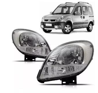 Farol Renault Kangoo 2008 2009 2010 2011 2012 2013 2014 2016 Mascara Cromada
