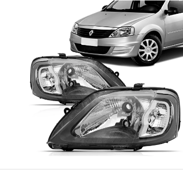 Farol Renault Logan 2006 2007 2008 2009 2010 Mascara Cinza