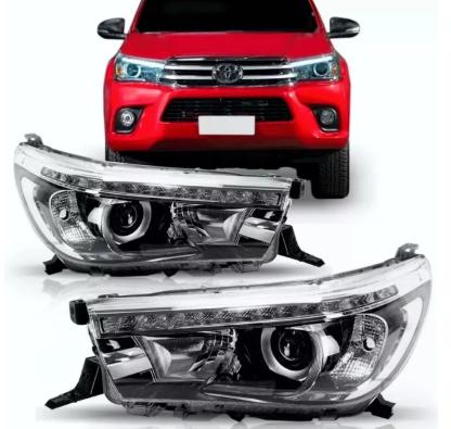 Farol Toyota Hilux SRX Pickup 2015 2016 2017 2018 2019 2020 Regulagem Eletrica Com Led E Marca Tyc