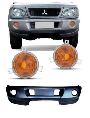 Kit Parachoque Dianteiro Com Par De Pisca L200 GLS 2002 2003 2004 2005 2006 2007