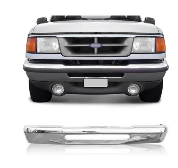Parachoque Dianteiro Ford Ranger 1994 1995 1996 1997 Cromado Sem Furo Para Borrachão
