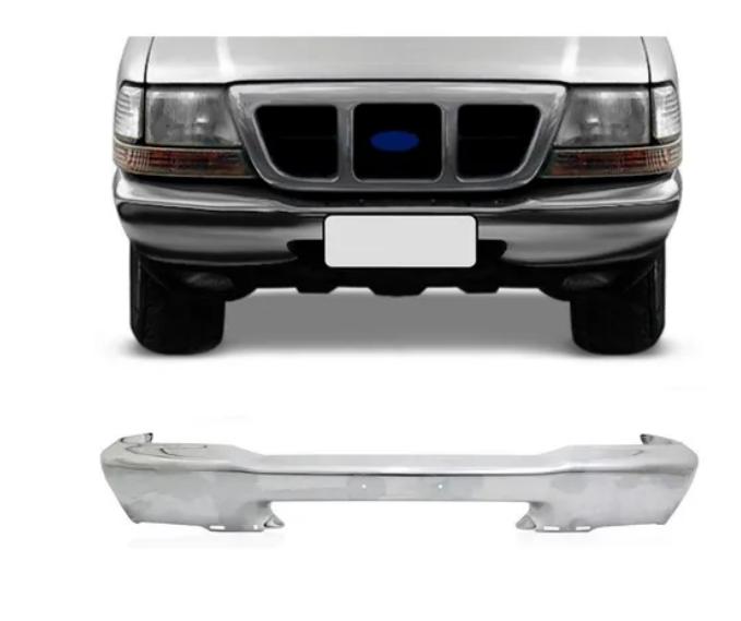 Parachoque Dianteiro Ford Ranger 1998 1999 2000 2001 2002 2003 2004 Cromado Sem Furo de Borrachao