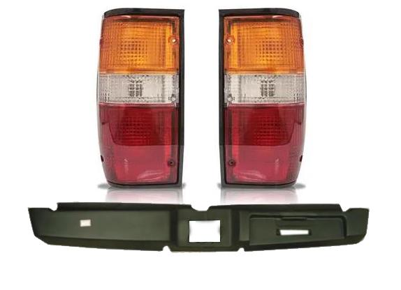 Parachoque Traseiro Mitsubishi L200 GL GLS Fibra Curto + Par de Lanterna L200 Gl GLS Borda Preta 2002 2003 2004 2005 2006 2007 2008