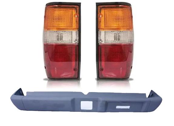 Parachoque Traseiro Mitsubishi L200 GL GLS Fibra Polaina Maior + Par de Lanterna L200 Gl GLS Borda Preta 2002 2003 2004 2005 2006 2007 2008