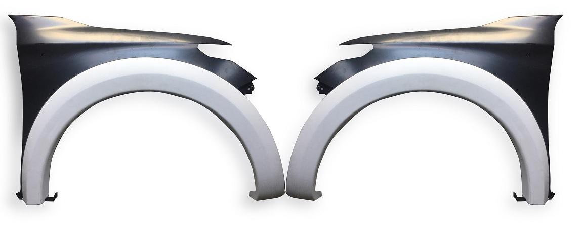 Kit Paralama Dianteiro +  Moldura Alargador Fibra Mitsubishi L200 Triton