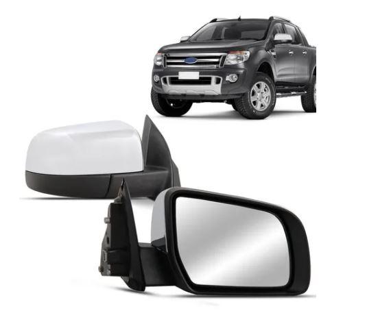 Retrovisor Ford Ranger Cromado Elétrico Sem Pisca 2013 2014 2015 2016 2017 2018 2019