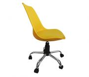Cadeira em ABS Secretária Base Aço Cromado - Amarela
