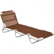 Cadeira Espreguiçadeira Em Alumínio Dobrável Adulto - Marrom