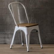 Cadeira Fixa Design Tolix Assento Madeira PEL-1520 Branca