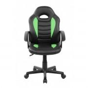 Cadeira Gamer Kids em Couro PU Preta com Verde Pelegrin