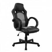Cadeira Presidente Gamer Em Couro Pu Preta Com Cinza Pelegrin Pel 3002