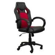 Cadeira Presidente Gamer Em Couro Pu Preta Com Vermelho Pelegrin Pel 3002''