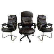 Conjunto Com 1 Cadeira Presidente E 2 Cadeiras Interlocutores Em Couro PU PEL-9018H/V Tabaco Com Preto