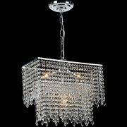 Lustre Finesse Alumínio Escovado Com Base Pendente Adornos Em Cristal Alto Brilho - Pelegrin