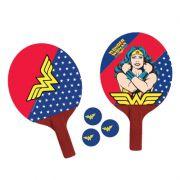 Par De Raquetes Ping Pong Mulher Maravilha + 3 Bolas Tenis De Mesa