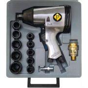 Parafusadeira Chave De Impacto Pneumática 1/2 Pol Com Kit 16 Peças Pelegrin NV-2023K