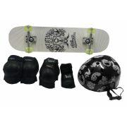 Skateboard Semi Pro + Kit Proteção Com ABS