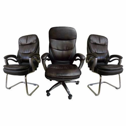 Kit Com 1 Cadeira Presidente + 2 Fixas Em Pu Tabaco E Preto