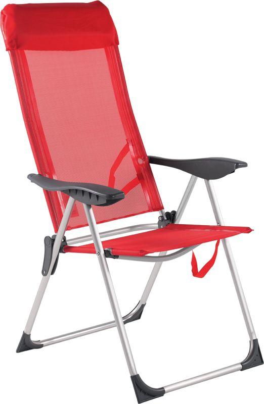 Cadeira Alta 5 Posições Alumínio Branca Vermelha