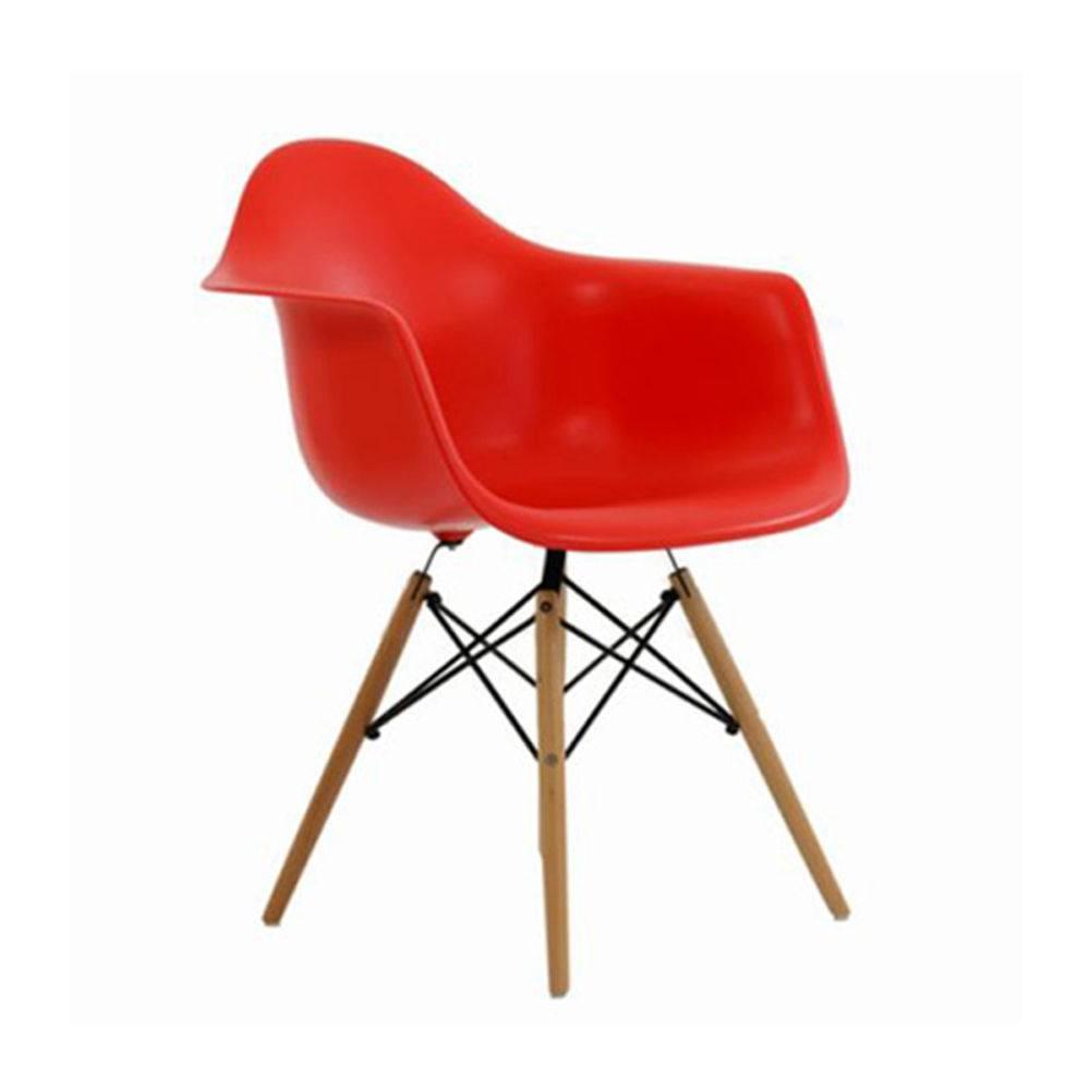 Cadeira Charles Eames Com Braço VErmelha Pelegrin -  PW082