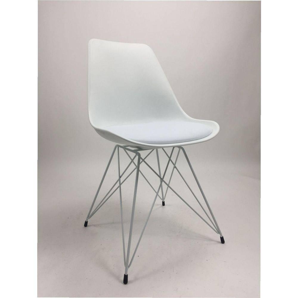 Cadeira Charles Eames Eiffel Branca Base Metal Branca Pelegrin PW-075