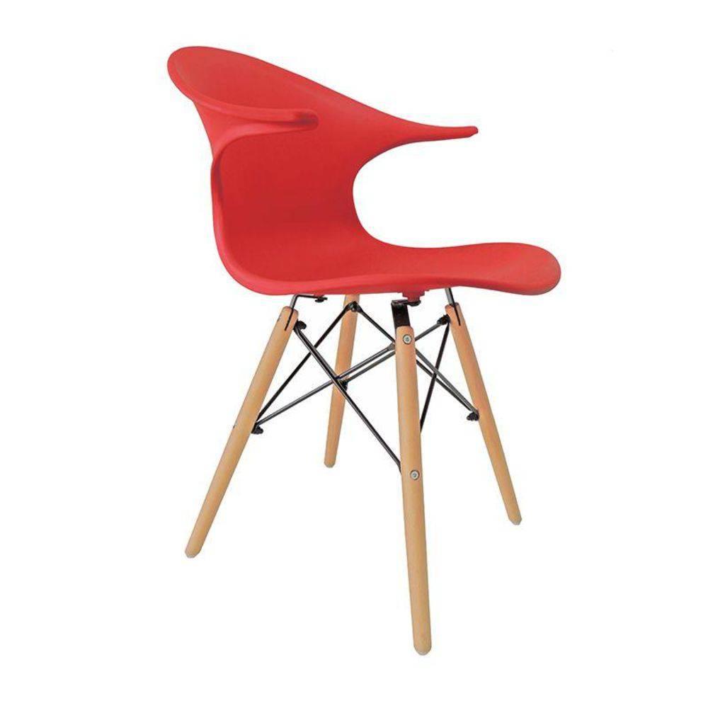 Cadeira Charles Eames New Wood Design Pelegrin PW-079 Vermelha