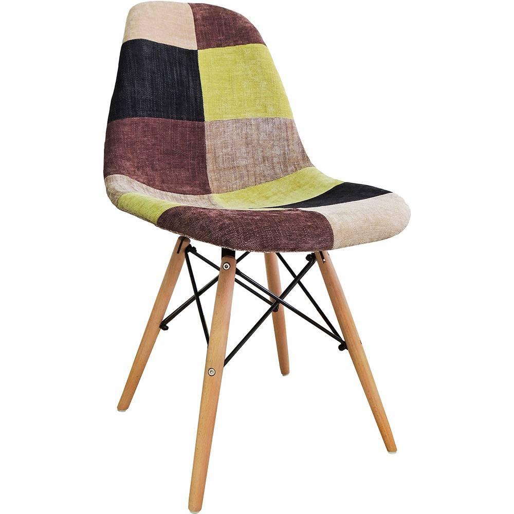 Cadeira Design Eiffel Eames Dkr Fw-070f1 Base Madeira/ABS Patchwork - Pelegrin