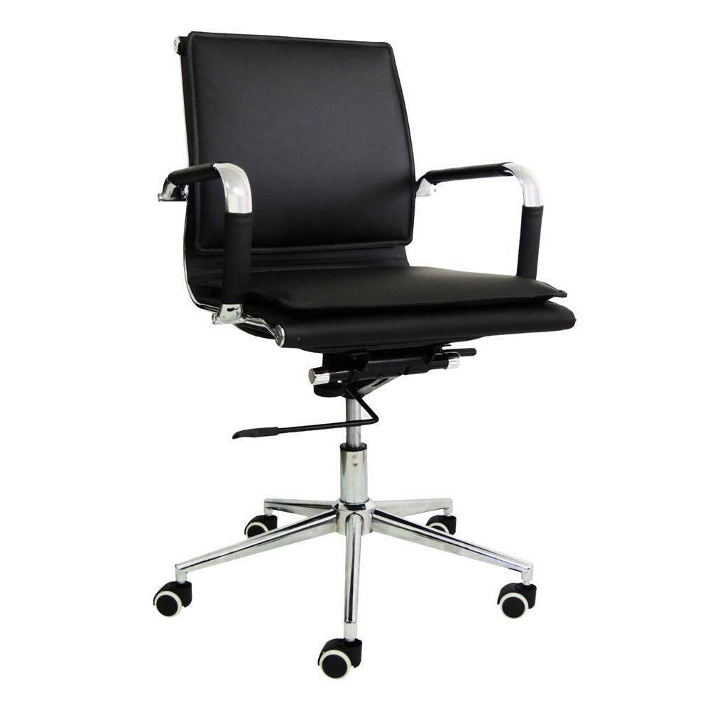 Cadeira Diretor Pelegrin em Couro PU PEL-8003L Preta Design Charles Eames