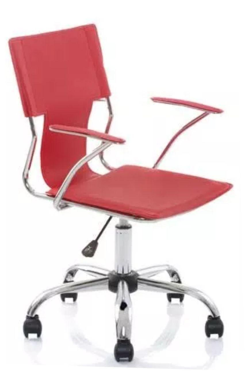 Cadeira Diretor Pelegrin Pel-6011 Couro Pvc Vermelha