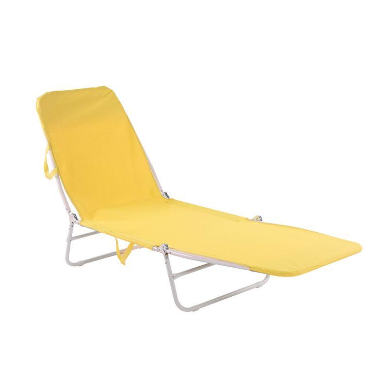 Cadeira Espreguiçadeira Dobrável Poliéster Amarelo -  Belfix