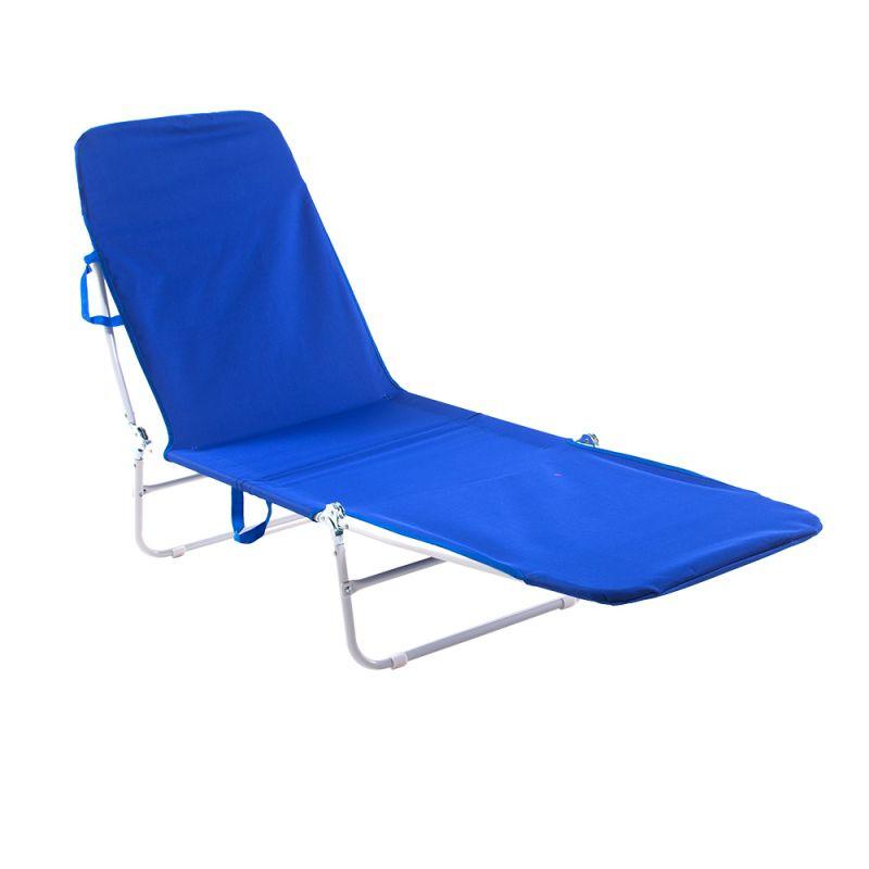 Cadeira Espreguiçadeira Dobrável Poliéster Azul - Belfix