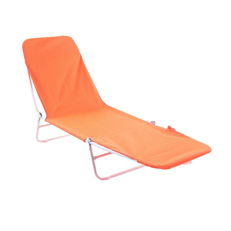 Cadeira Espreguiçadeira Dobrável Poliéster Laranja -  Belfix