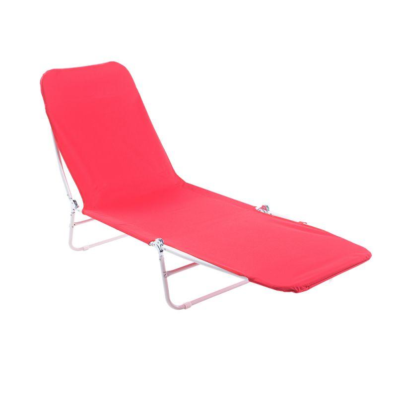 Cadeira Espreguiçadeira Dobrável Poliéster Vermelha - Belfix