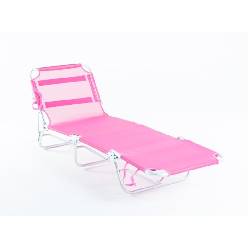 Cadeira Espreguiçadeira Em Alumínio Dobrável Adulto - Rosa