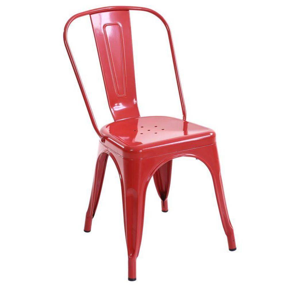 Cadeira Fixa Design Tolix Metal Pelegrin PEL-1518 Vermelha