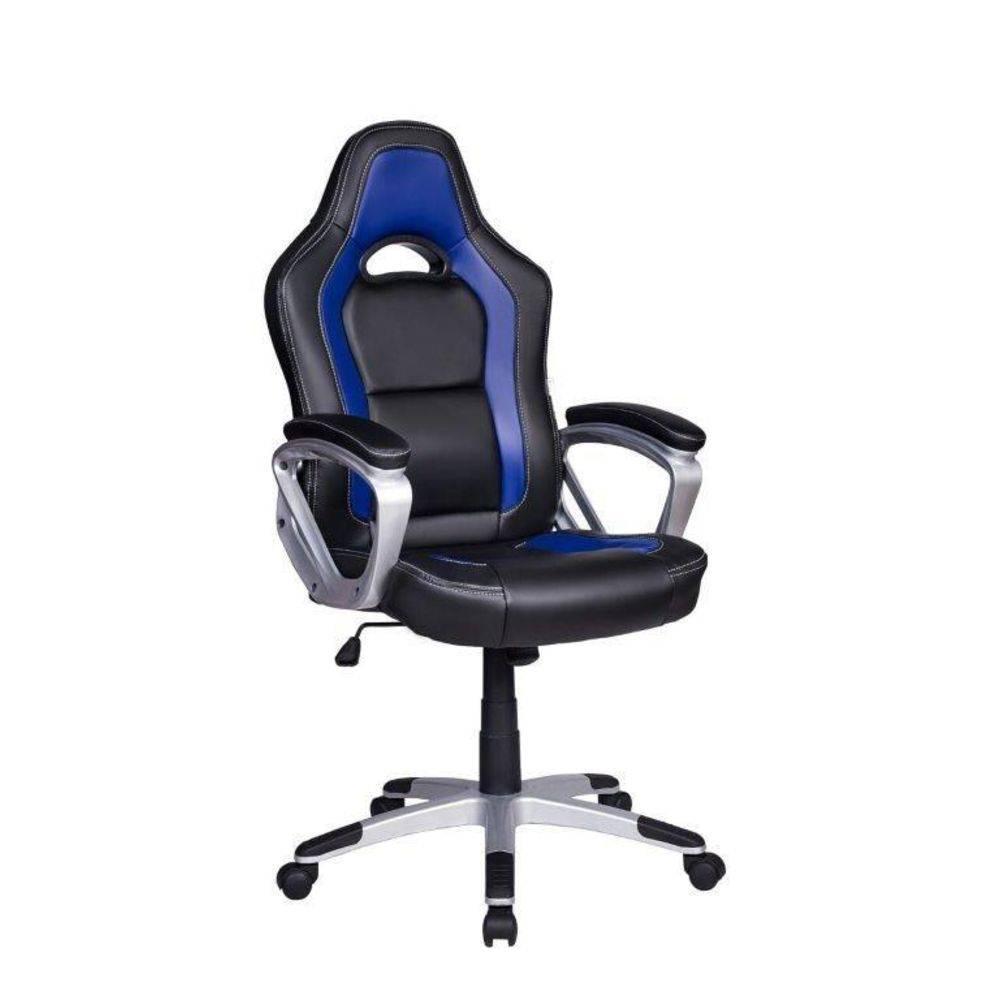 Cadeira Gamer Em Couro PU Pelegrin PEL-3007 Preta E Azul