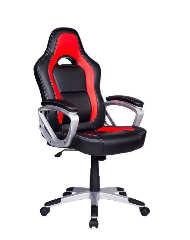 Cadeira Gamer Em Couro PU Pelegrin PEL-3007 Preta E Vermelha