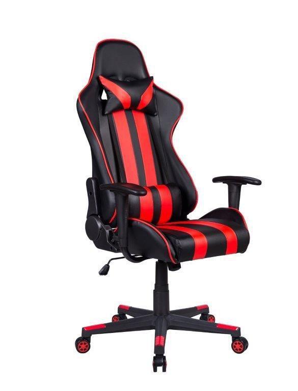 Cadeira Gamer Pelegrin Em Couro PU Reclinável PEL-3013 Preta E Vermelha