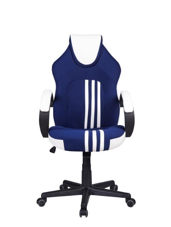 Cadeira Gamer Pelegrin PEL-3005 Couro PU Azul Branco e Preto