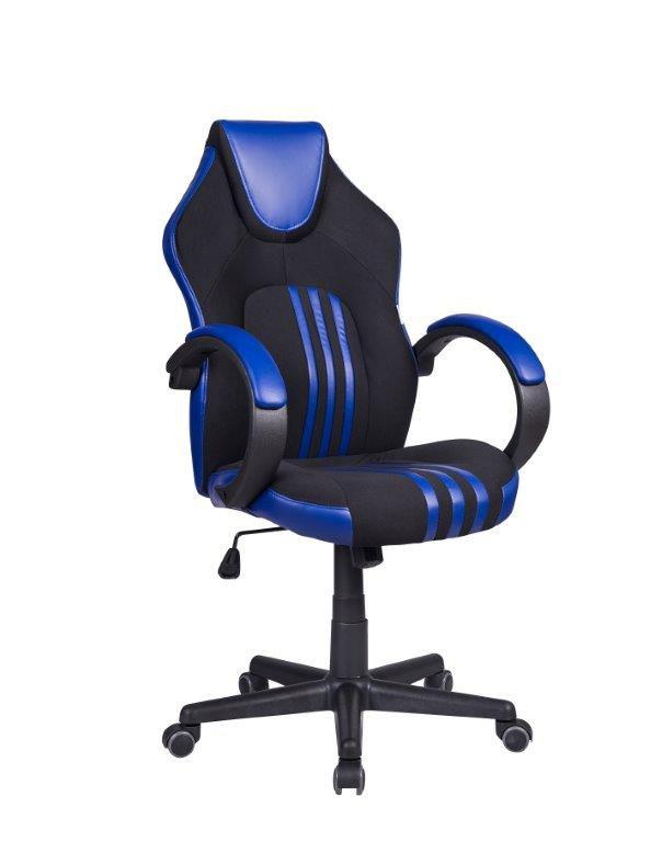Cadeira Gamer Pelegrin PEL-3005 Tecido Preto Couro PU Azul