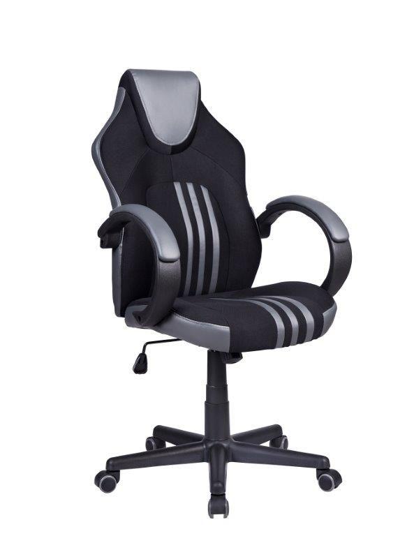 Cadeira Gamer Pelegrin PEL-3005 Tecido Preto Couro PU Cinza