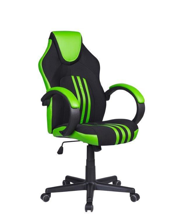 Cadeira Gamer Pelegrin PEL-3005 Tecido Preto Couro PU Verde