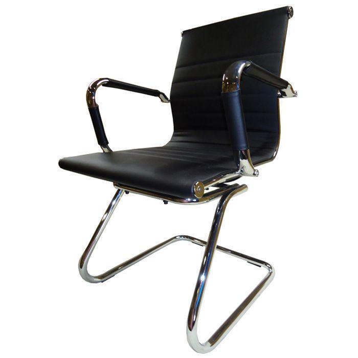 Cadeira Interlocutor Pelegrin Pel-1190V Couro Pu Preta