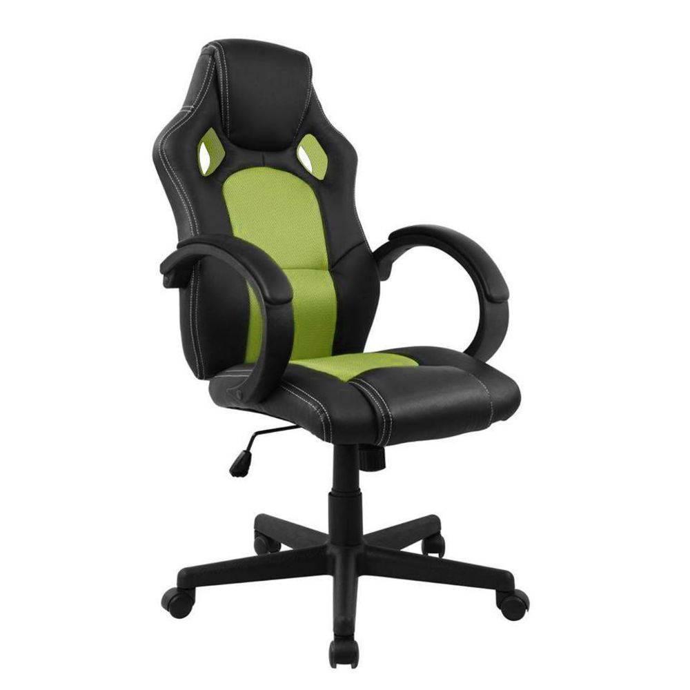 Cadeira Pelegrin Pel-3002 Gamer Couro Pu Preta E Verde